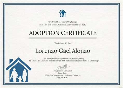 adoption certificate template  psd ms word