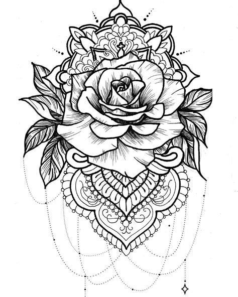 Super cute for thigh/hip or shoulder piece. | Tattoos, Rose tattoos, Mandala tattoo