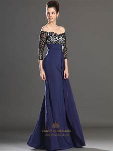Navy Blue Chiffon Off The Shoulder Lace Bodice Prom Dress ...