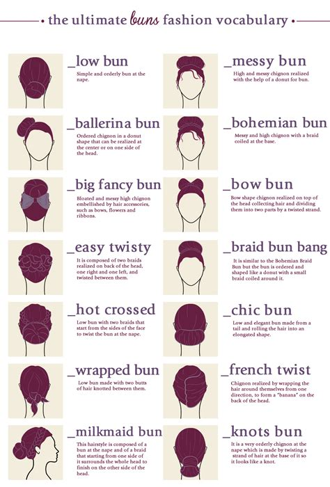 Hair Buns Types Styles Terms Names Infographics Digital