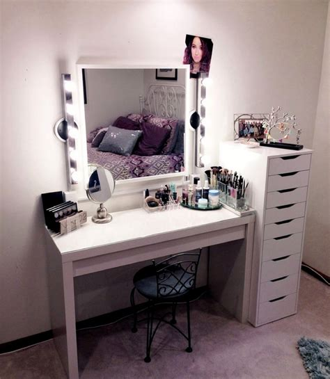 white makeup desk with modern ikea vanity makeup table with lights and drawers