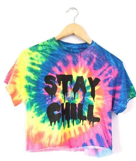 Stay Chill Rainbow Tiedye Graphic Crop Top  Era Of Artists