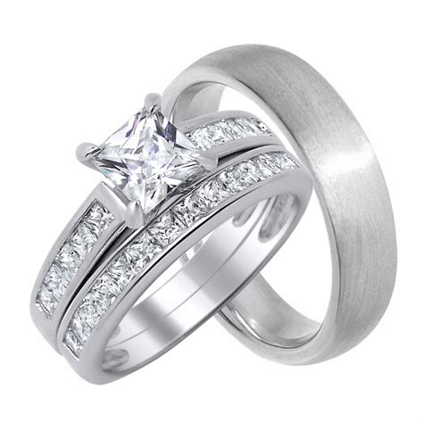 wedding rings sets for him and his and wedding rings set sterling silver wedding 1067