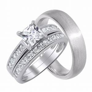 His and her wedding rings set sterling silver wedding for Sterling silver wedding rings for her