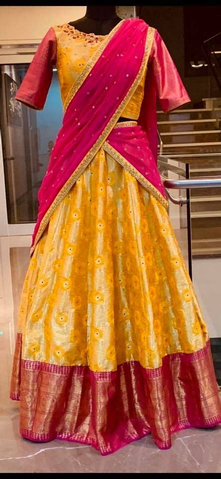 stunning yellow  pink color combination pattu lehenga