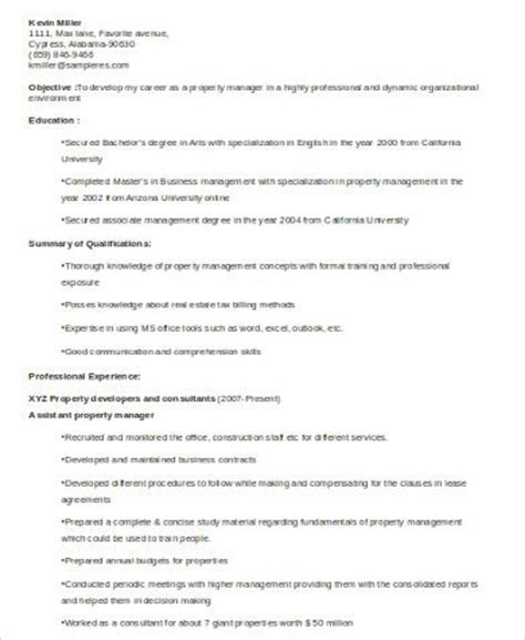 sle property manager resume 8 exles in word pdf