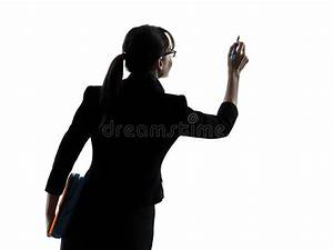 Business Woman Writing Copy Space Silhouette Stock Photo ...