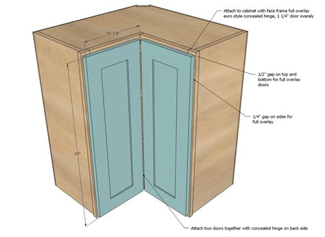 white wall corner pie cut kitchen cabinet diy projects - How To Build A Corner Cabinet With Doors