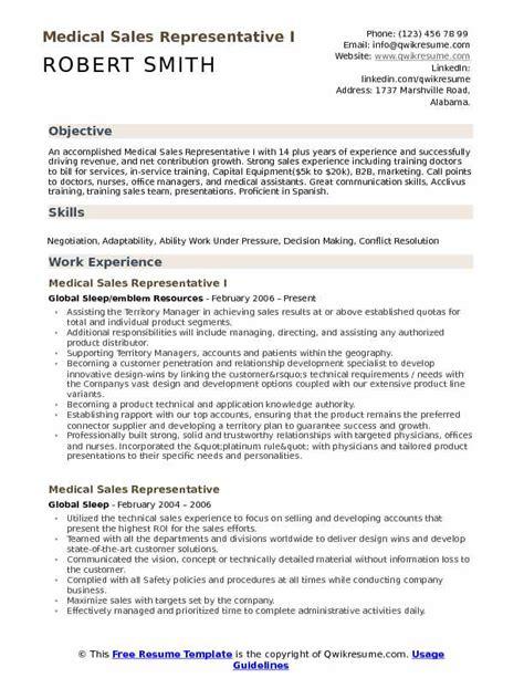 medical sales representative resume sles qwikresume