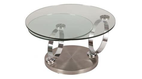 table basse ronde en verre tremp 233 et acier bross 233 pas cher