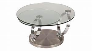 Table Basse Ronde Verre : table basse ronde en verre tremp et acier bross pas cher ~ Teatrodelosmanantiales.com Idées de Décoration