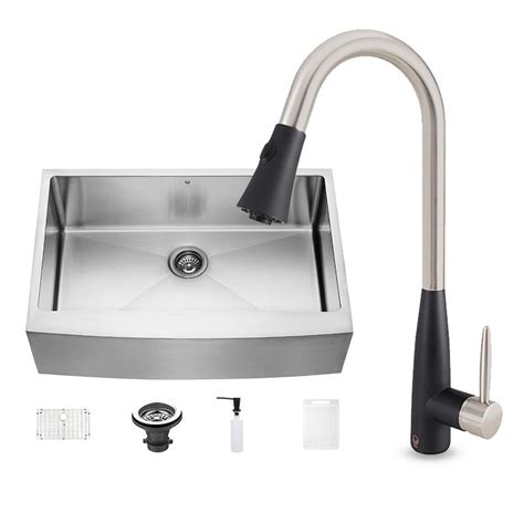 farmhouse faucet kitchen vigo all in one farmhouse stainless steel 33 in 0 hole kitchen sink and milburn stainless steel