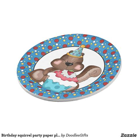 birthday squirrel party paper plate zazzlecom