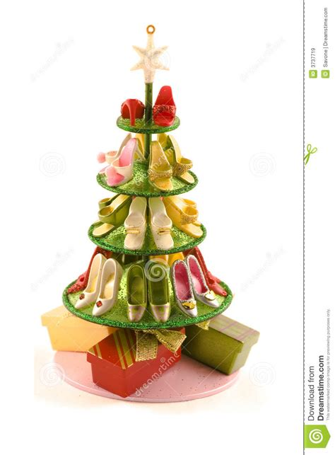 christmas tree  shoes royalty  stock images