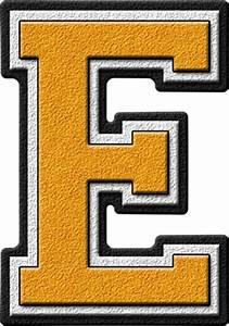 presentation alphabets gold varsity letter e With gold letter e