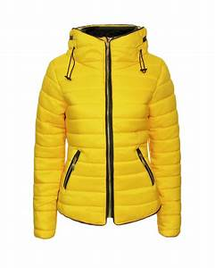 New Ladies Women Bubble Quilted Padded Fur Collar Long Sleeve Yellow Jacket Coat | eBay