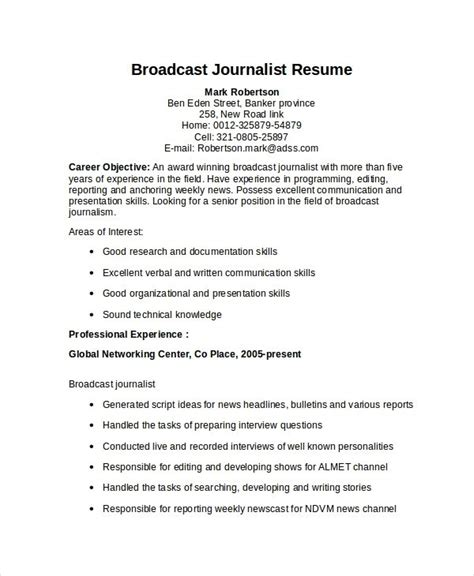 Reporter Description For Resume by Journalism Resume Template Resume Sle