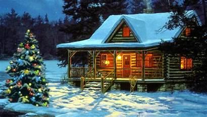 Cabin Christmas Mountain Scenes Country Smoky Winter