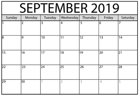 september  calendar   holidays net market