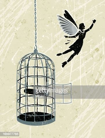 business woman flying   bird cage high res vector