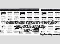 Calendario de 185, 195 y 200 días para el ciclo escolar