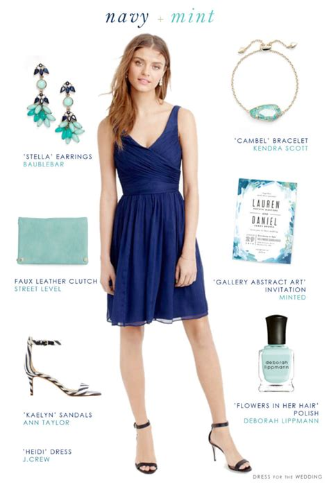 Navy Blue and Mint Green Wedding Style   Blue Bridesmaid Dresses
