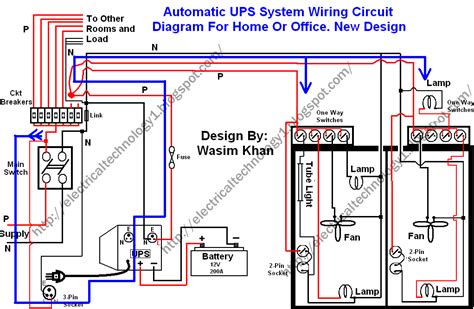 automatic ups system wiring circuit diagram home office