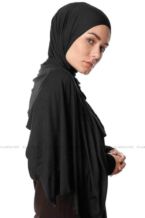 hijab jersey premium melek black stretch jersey shawl  ecardin