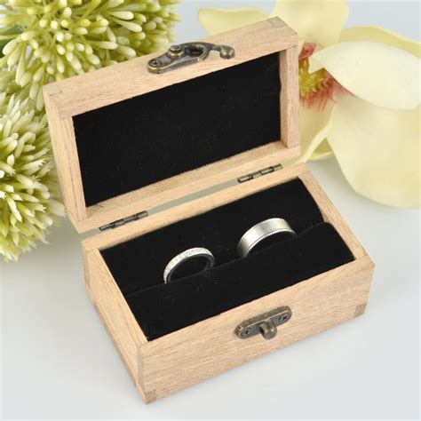personalised favours rustic wooden double wedding ring box for ceremony oak ebay