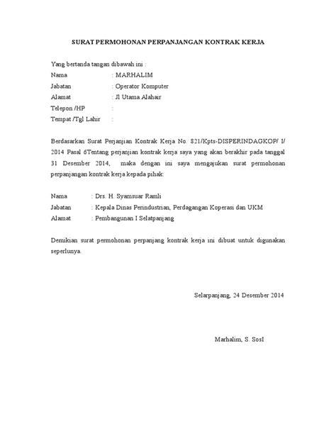 contoh surat permohonan perpanjangan kontrak kerja