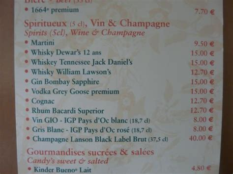 prix des consomations du mini bar de la chambre