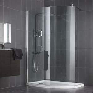 paroi de douche a l39italienne look profile chrome l140 With porte de douche coulissante avec carrelage clipsable salle de bain