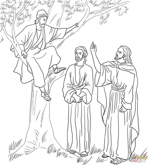 jesus meets zacchaeus coloring page  printable