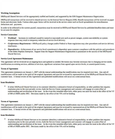 write service level agreement template service level