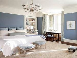 Yellow and gray kitchen accessories, master bedroom blue