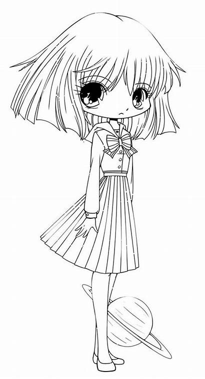 Chibi Coloring Drawing Funny Pages Anime Hotaru