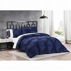 Luxury, Stylish, Navy, Blue, Textured, Pleated, Gathered, Ruffled, Comforter, Set, Bedding