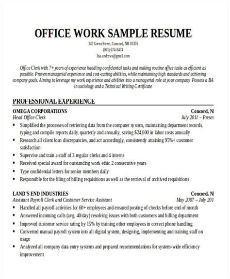 printable work resume templates