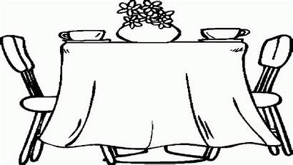 Coloring Table Dining Clipart Dinner Pages Simple