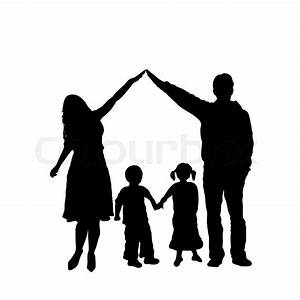 Caring family silhouette isolated on white | Stock Vector ...