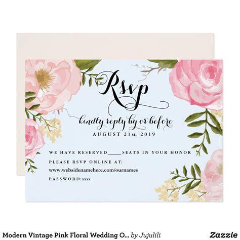 Modern Vintage Pink Floral Wedding Online Rsvp Zazzle