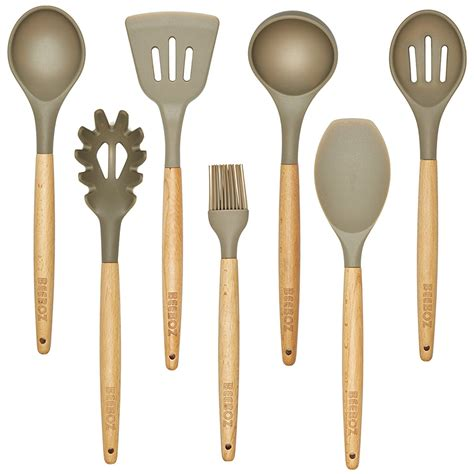 kitchen silicone wood utensils utensil grey eco beech friendly pc amazon nonstick bpa cooking sets gadgets spoon items non spatula