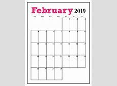Printable February 2019 Vertical Calendar MaxCalendars