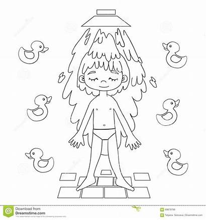 Shower Boy Drawing Taking Clipart Showering Takes