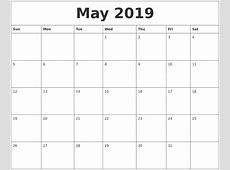 May 2019 Calendar Word monthly printable calendar