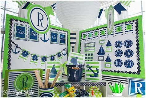 Nautical Themed Classroom Decorations by Lime And Navy Nautical Classroom Decor Beginning Of