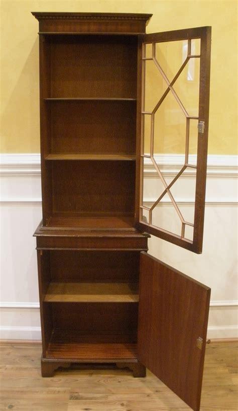 vintage english flame mahogany small curio cabinet