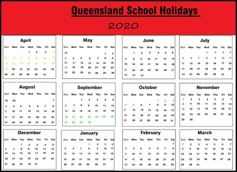 qld school holidays  calendar template printable