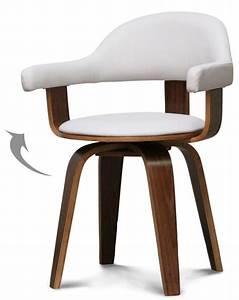 Chaise Bois Blanc : chaise pivotante simili blanc et bois noyer woff ~ Teatrodelosmanantiales.com Idées de Décoration