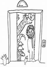 Elevator Coloring Pages Building sketch template